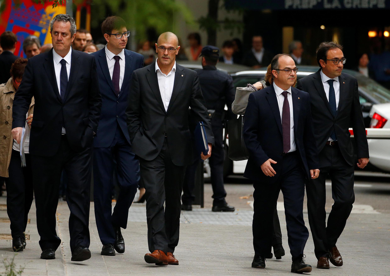 Miembros del gobierno catalán destituido llegó este jueves a la Audiencia Nacional de Madrid a declarar por rebelión y sedición, el 2 de noviembre de 2017.
