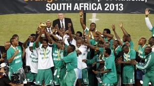 Victoire des Super Eagles lors de la finale de la Coupe d'Afrique des Nations, à Johannesburg, le 10 février 2013.