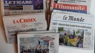 Primeiras páginas dos jornais franceses de 04 de abril de 2018