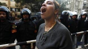 Les jeunes Egyptiens, lors des manifestations de la colère, le 28 janvier 2011.