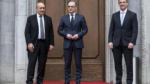 2020-06-19 berlin france germany britain Jean-Yves Le Drian Heiko Maas Dominic raab foreign minister