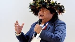 Almir Narayamoga Surui, représentant du peuple indien Paiter-Surui, lors de la Rencontre des entrepreneurs de France du Medef à Paris, le mercredi 28 août 2019.
