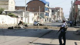 The scene of a car bomb in the Dagestani capital Makhachkala