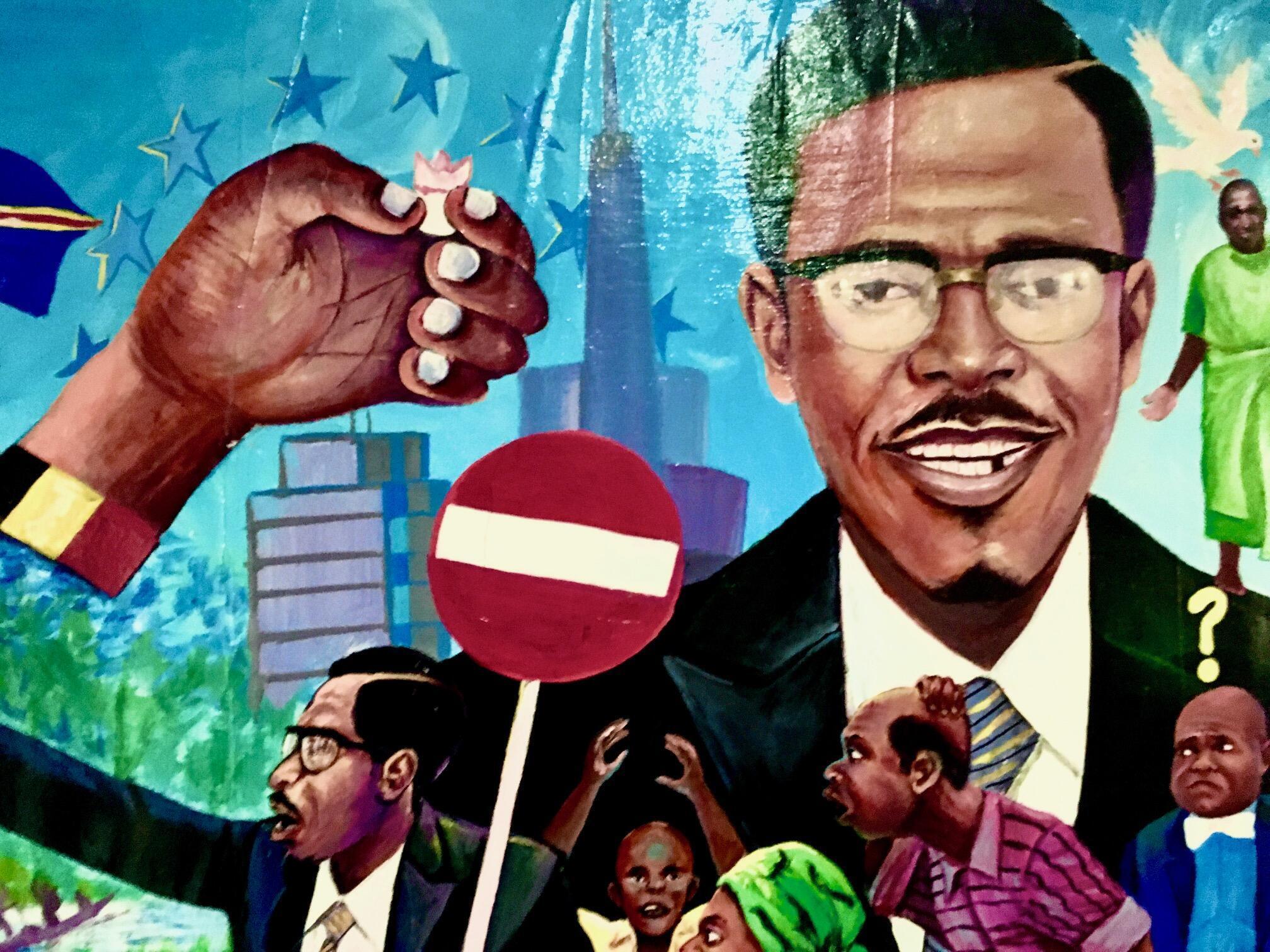 Détail d'un tableau de Sam Ilus, 2016, sur la dent de Lumumba.