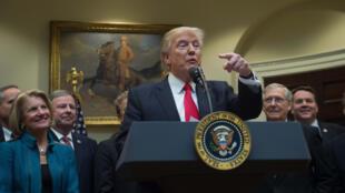 Le président américain Donald Trump à la Maison Blanche le 16 février 2017.