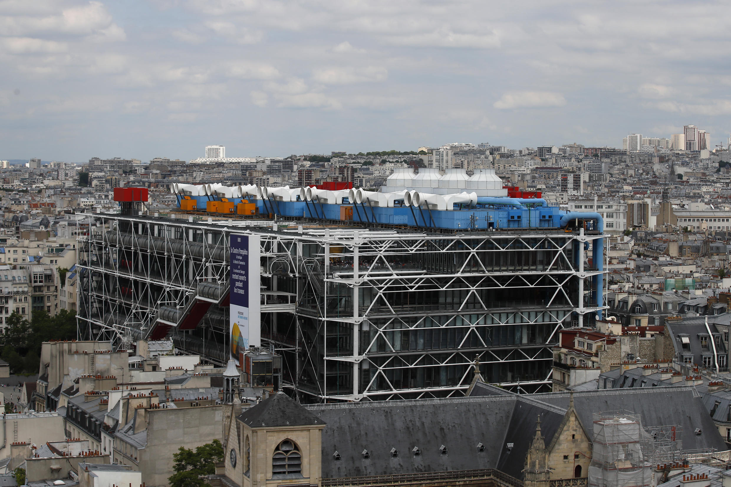 View of George Pompidou Beaubourg museum from the top of the Tour Saint Jacques, in Paris, Friday May 31, 2019.