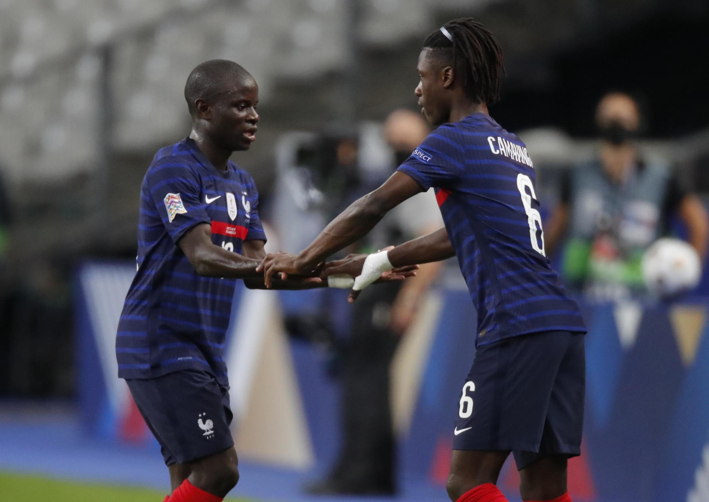 Eduardo Camavinga (right) replaces Ngolo Kanté during France's Nations League tie against Croatia.