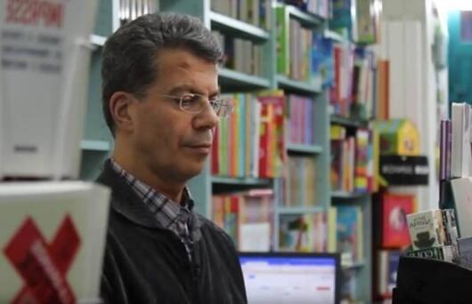 """بهمن امینی در کتابفروشی """"خاوران"""""""
