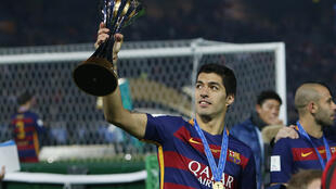 Barcelona's Luis Suarez celebrates winning the Fifa Club World Cup Final