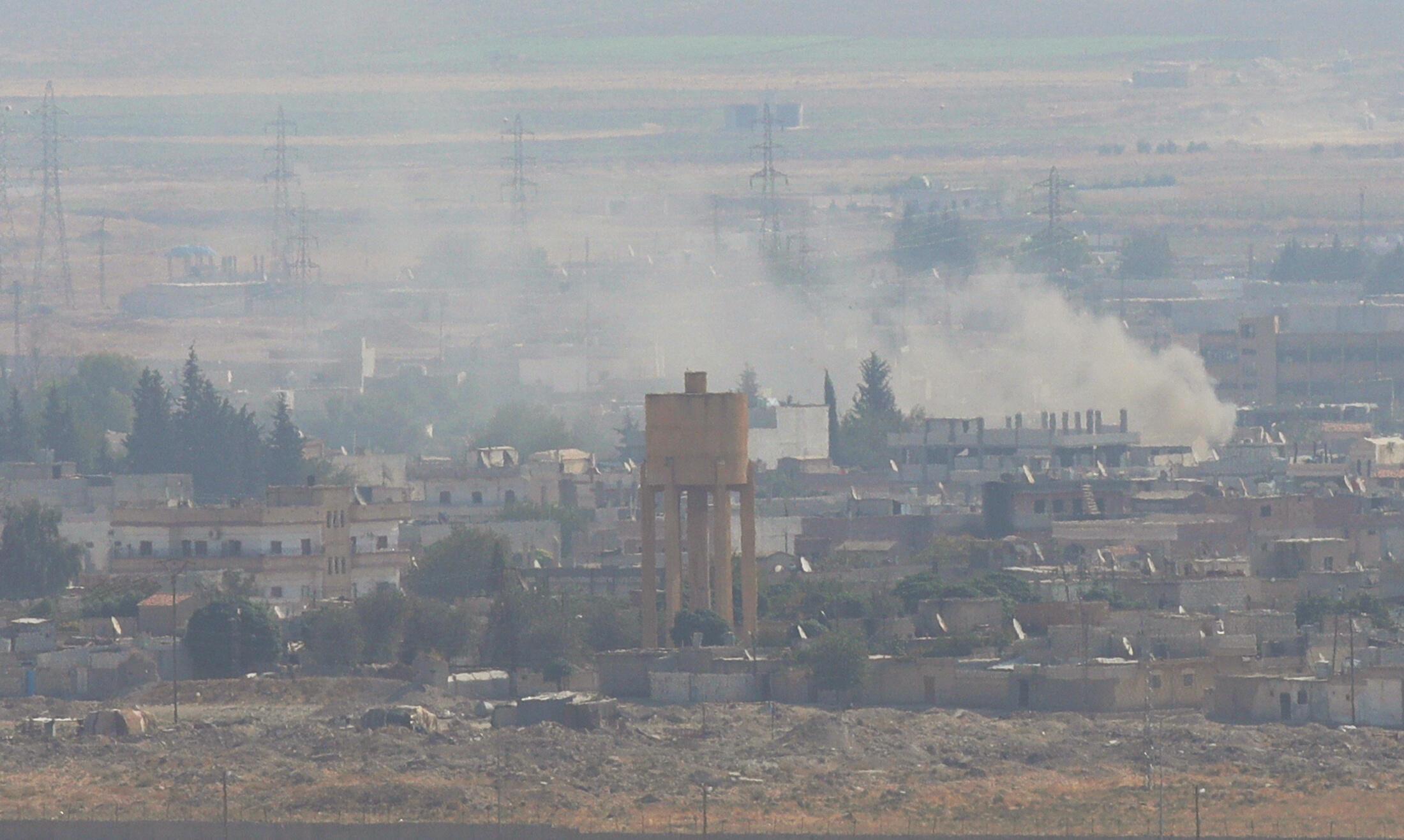 L'aviation turque a bombardé à l'est de Ras al-Ain en territoire syrien, le 18 octobre 2019.