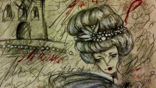 Dessin réalisé à partir d'Ecouter Paris au Moulin Rouge.