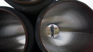 Lubmin, Allemagne. Le premier gazoduc du projet Nord Stream entre en service ce 8 novembre 2011.
