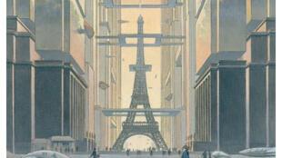Détail de la couverture de «Revoir Paris, l'exposition» à la Cité de l'Architecture de Paris.