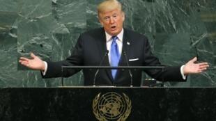 Shugaban Amurka Donald Trump a gaban zauren Majalisar Dinkin Duniya