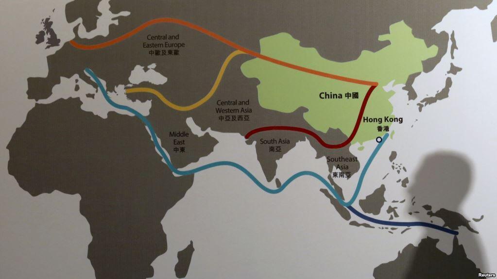 Một bản đồ kế hoạch Con đường tơ lụa mới, do Trung Quốc khởi xướng.