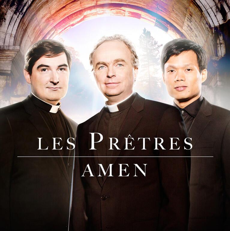 "Ảnh bìa album ""Amen"" của ban tam ca Les Prêtres."