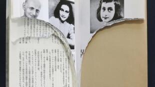 2014年2月22日,日本東京某圖書館裡被撕毀的《安妮日記》