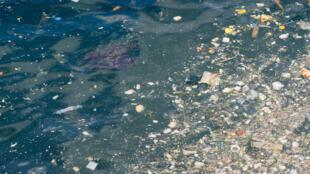 Des eaux polluées par des matières plastiques.