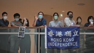 Una protesta celebrada el 28 de mayo de 2020 en un centro comercial de Hong Kong contra la ley de seguridad