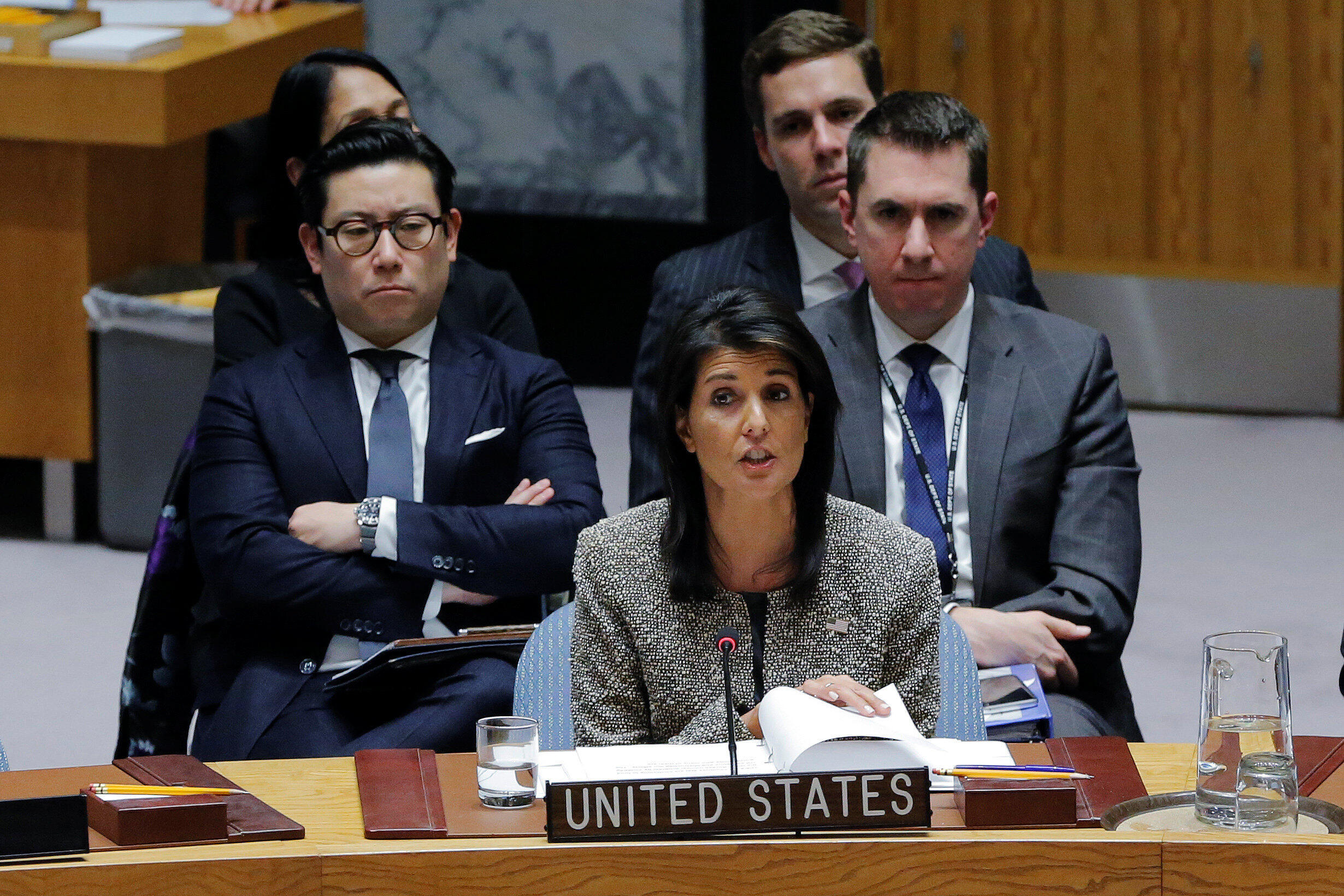 La embajadora de EE.UU. ante la ONU, Nikki Haley, durante una reunión del Consejo de Seguridad de la ONU, el 29 de noviembre de 2017.