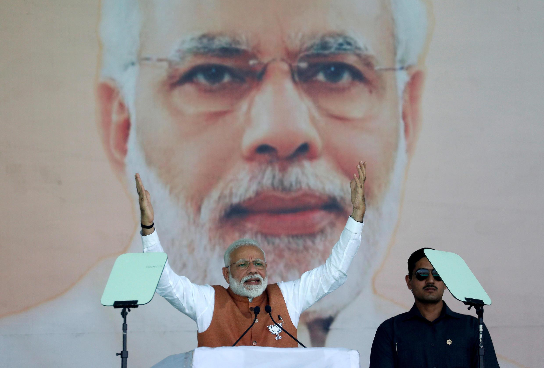 Thủ tướng Ấn Độ Narendra Modi vận động tranh cử ở Meerut, bang Uttar Pradesh (miền bắc), ngày 28/03/2019.