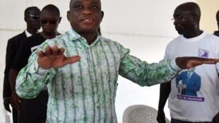 Kouadio Konan Bertin était déjà candidat à la présidentielle ivoirienne en 2015. Ici, lors d'un meeting à Abidjan, le 22 octobre 2015.