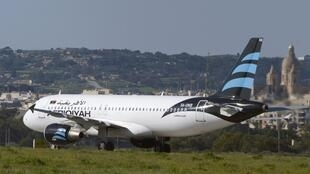 The hijacked Airbus A320 operated by Afriqiyah Airways after it landed at Luqa Airport, in Malta.