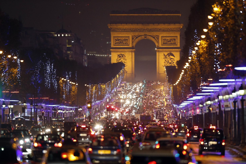 All lit up - the Champs-Elysées in Paris.