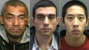 Ba tù nhân vượt ngục (trái sang phải):  Bac Duong (vừa đầu thú), Hossein Nayeri, và Jonathan Tieu.