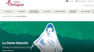 Affiche du spéctacle « La Dame Blanche » à l'Opéra-comique à Paris (capture d'écran).