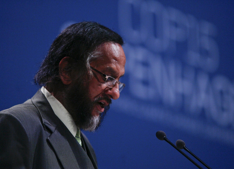 Le prix Nobel de la paix 2007, Rajendra Pachauri, du Giec, durant l'ouverture du sommet de Copenhague, le 7 décembre 2009.