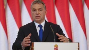 Thủ tướng Hungary, ông Viktor Orban tại buổi họp báo ngày 24/02/2016.