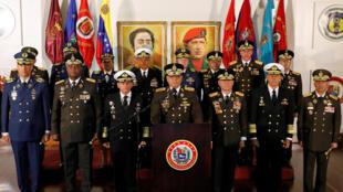 Bộ trưởng Quốc Phòng Venezuela, Vladimir Padrino Lopez trong cuộc họp báo tại Caracas ngày 24/01/2019.