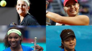 Up (L to R): Victoria Azarenka and Maria Sharapova. Bottom (L to R): Serena Williams and Li Na