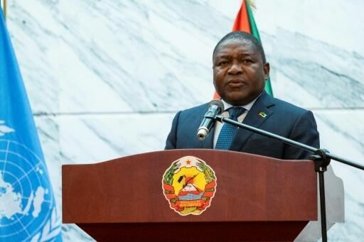 """Mozambique President Filipe Nyusi, pictured here on July 11, has vowed to """"fight and hunt"""" militants who have staged raids on remote communities"""