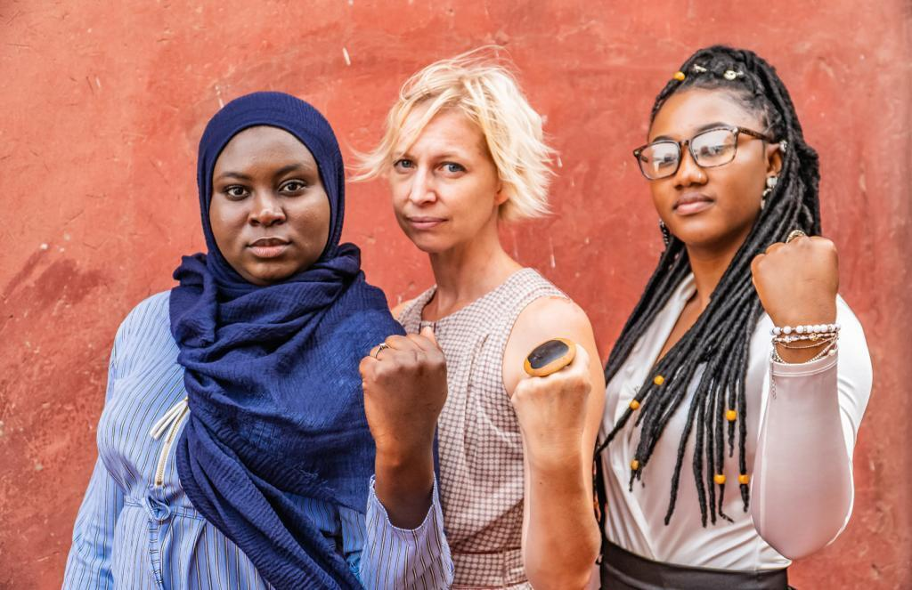 Toufah Jallow and friends backing her campaign against sexual violence on women
