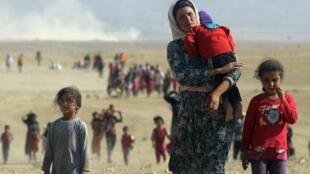 Des Irakiens de la minorité Yezidi fuient les combats entre le groupe Etat islamique et l'armée irakienne dans la ville de Sinjar, le 11 août 2014.