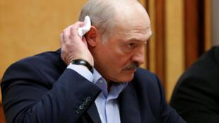 Президент Беларуси Александр Лукашенко на встрече с президентом РФ В.Путиным в Сочи 7 февраля 2020 г.
