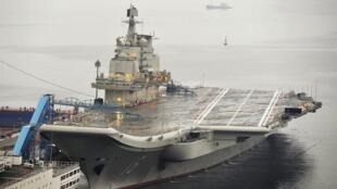圖為中國遼寧號航空母艦照片