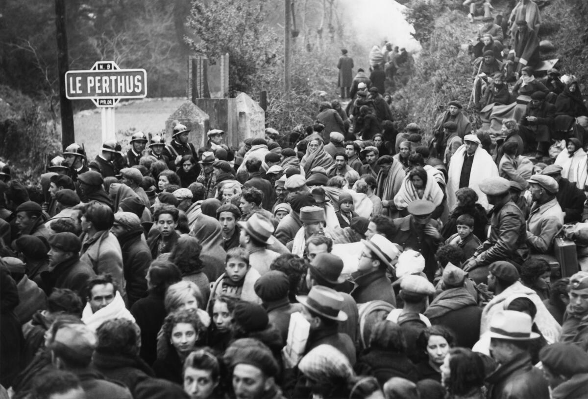 Llegada de los exiliados en Le Perthus, Francia, el 28 de enero de 1939.
