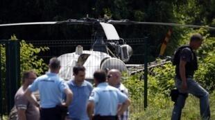 Chiếc trực thăng Alouette II bị bỏ lại tại Gonesse, phía bắc Paris, sau khi Redoine Faïd trốn thoát khỏi trại giam Réau ngày 01/07/2018.