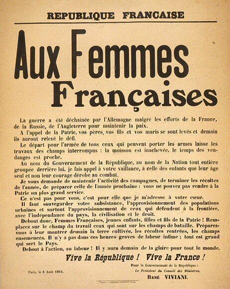 Appel aux femmes françaises du président du Conseil, en août 1914.