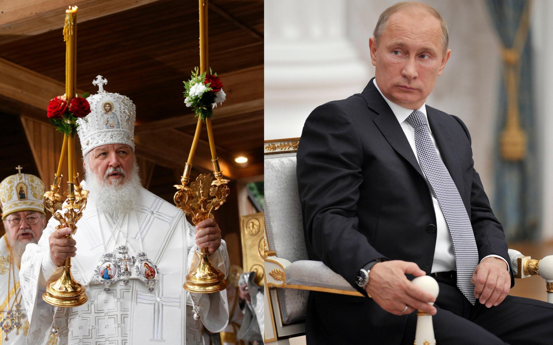 O patriarca de Moscou, Kirill (e) e o presidente russo Vladimir Putin (d).