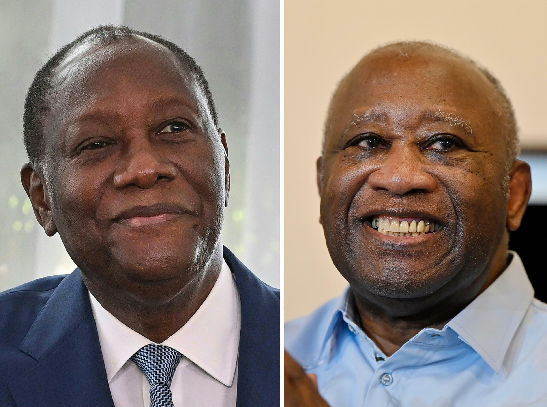 Fotomontaje del presidente marfileño Alassane Ouattara (izquierda) y su predecesor y rival Laurent Gbagbo (derecha)