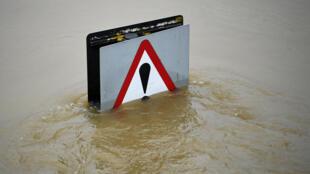 Inundación en Shrewsbury, en el oeste de Inglaterra, tras el paso de la tormenta Christoph, el 22 de enero de 2021