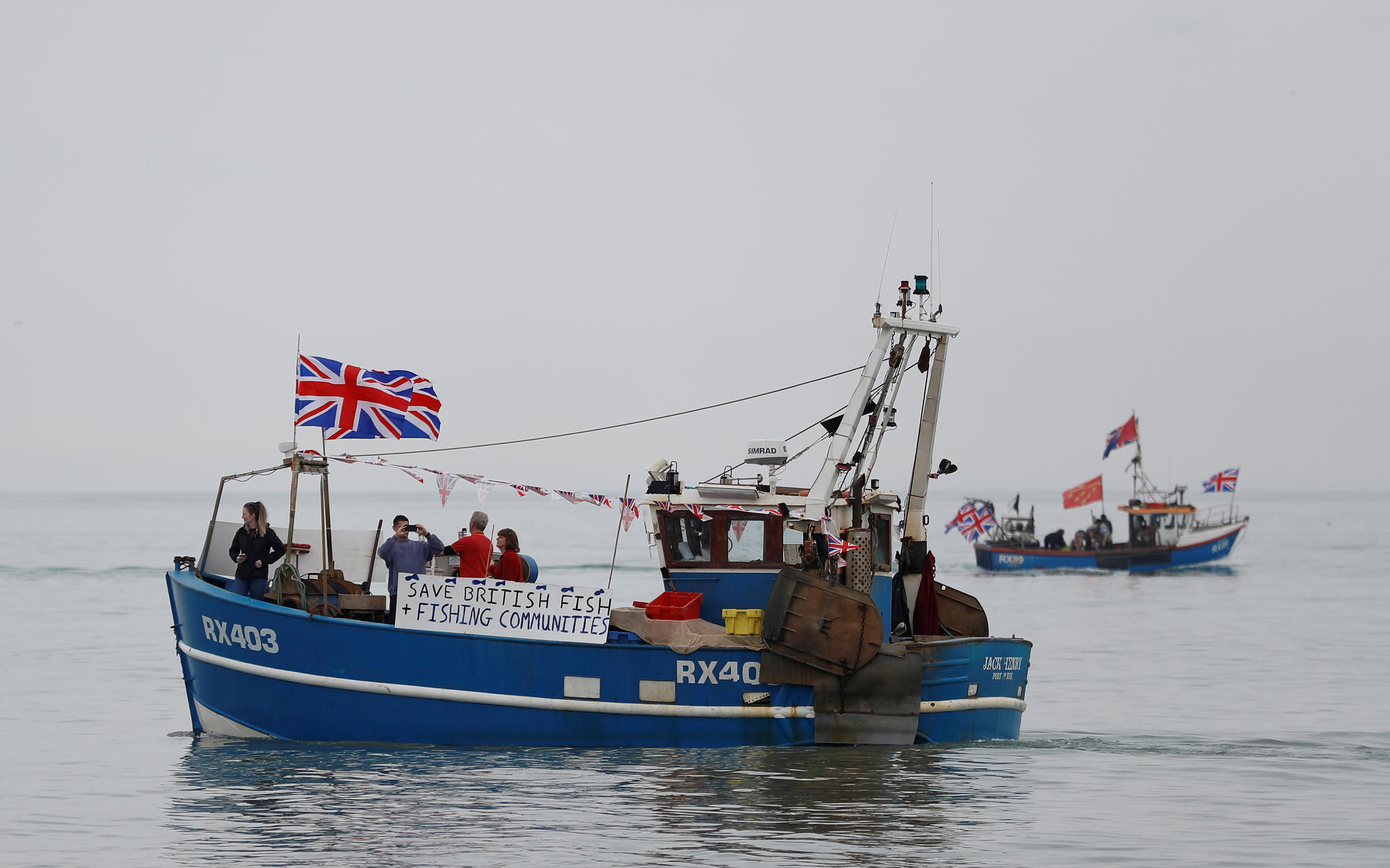 British fisherman stage a protest off the coast of Hastings on April 8, 2018.