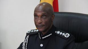 Le général et inspecteur général de la police (IGP) Kale Kayihura, lors d'une conférence de presse le 20 février 2018.