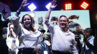 Laurentino Cortizo et son épouse Yazmin Colon, le 5 mai 2019, à Panama City.