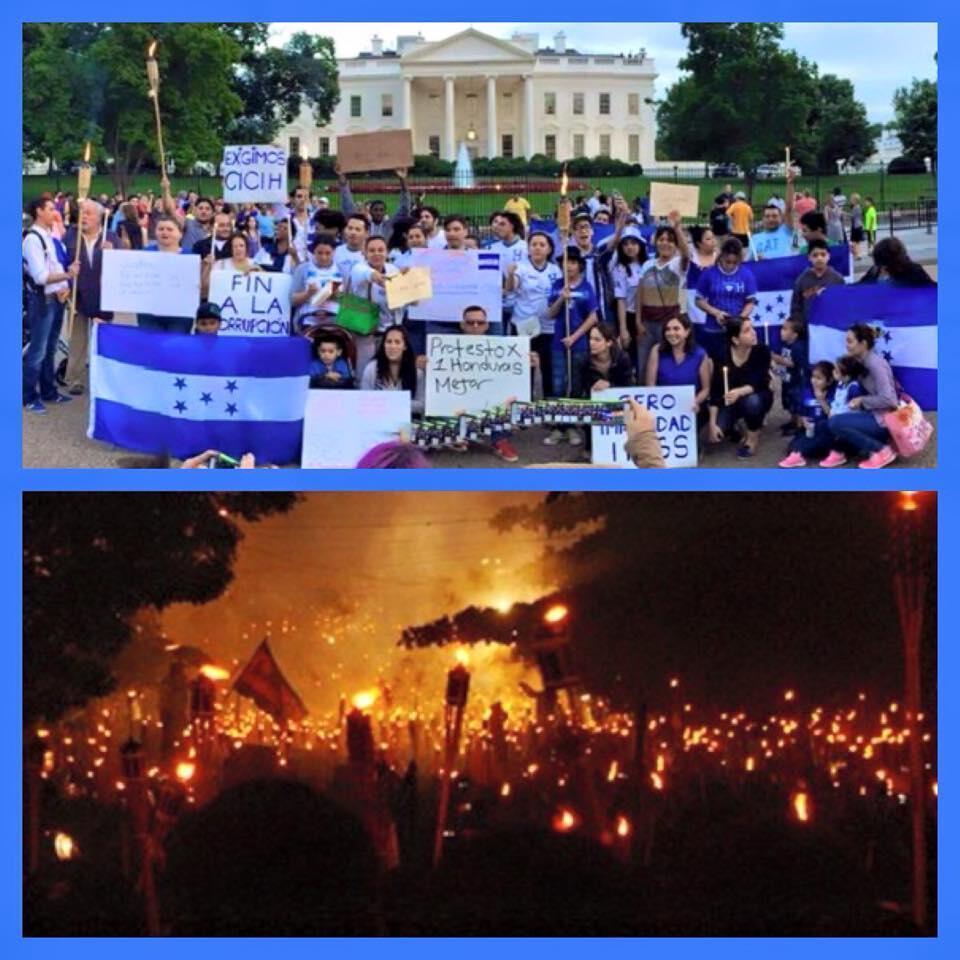 En Washington, un puñado de Hondureños manifestaron este fin de semanana.