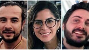 Detalle del anuncio, por EFE, de la detención de los periodistas detenidos: los colombianos Mauren Barriga y Leonardo Muñoz, y el español Gonzalo Domínguez